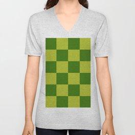 Green on Green Checkered Pattern (ix 2021) Unisex V-Neck