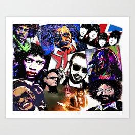 Famous Icons from Einstein to Bono Art Print