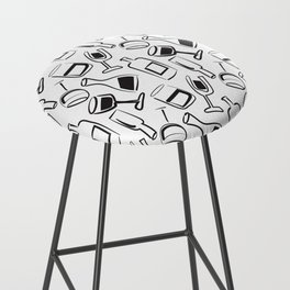 Wine Lovers Illustrated Wine Glasses and Wine Bottles Bar Stool