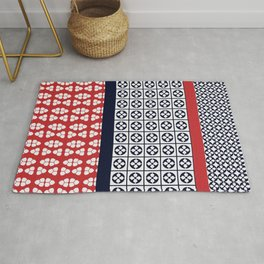 Japanese Style Ethnic Quilt Blue and Red Rug