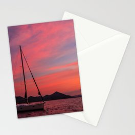 Sailing Boats Against a Purple Sky Stationery Cards