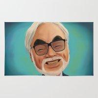 hayao miyazaki Area & Throw Rugs featuring Hayao Miyasaki by CarolaRT