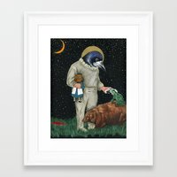 frog Framed Art Prints featuring frog by Karen Constance Collage and Paintings