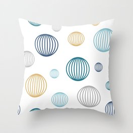 Striped pastel bubbles on white Throw Pillow