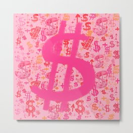 Pink Dollar Signs Metal Print
