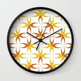 orange sylized schematic flower Wall Clock