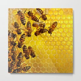 Honey Honeycomb Metal Print