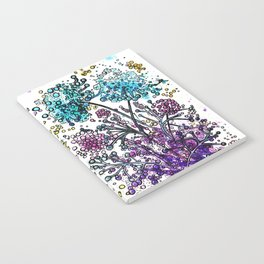 Purple floral watercolor abstraction Notebook