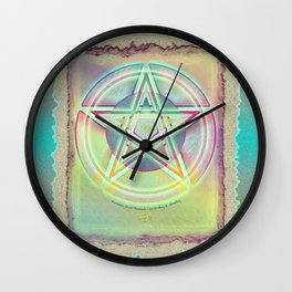 Rainbow Ghosted Pentacle Wall Clock