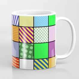 Retro Patchwork - Abstract, geometric, patterned design Coffee Mug