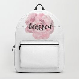 Christian Watercolor Typography Text Quote - Blessed Backpack