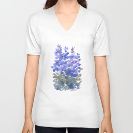 Beautiful Blue Delphiniums Unisex V-Neck