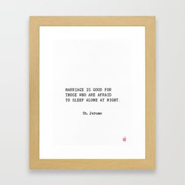 Marriage. St. Jerome quote Framed Art Print