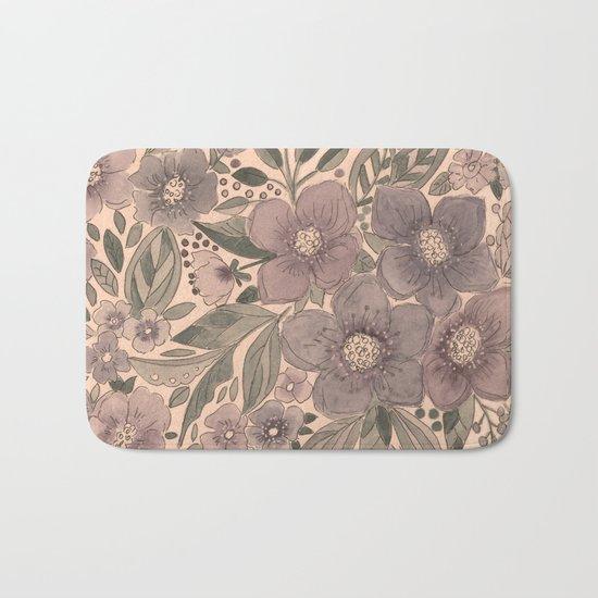 Watercolor . Flowers retro . Bath Mat