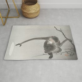 Monkey and reflection of the moon (1900 - 1936) by Ohara Koson (1877-1945) Rug