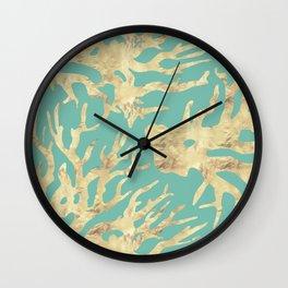 Golden corals on azure ink Wall Clock