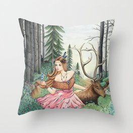 The Queen of the forest Throw Pillow