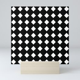 rhombus and tartan 5–  black and white Mini Art Print