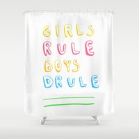 girl power Shower Curtains featuring Girl Power by Lovisa Valentino