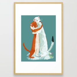 Weasel hugs Framed Art Print