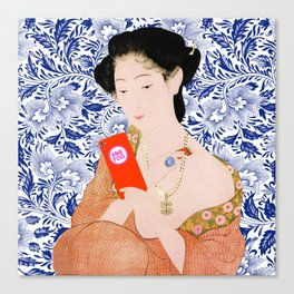 confused timeline with japanese lady Canvas Print
