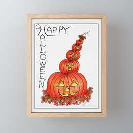 Happy Halloween Pumpkins Framed Mini Art Print