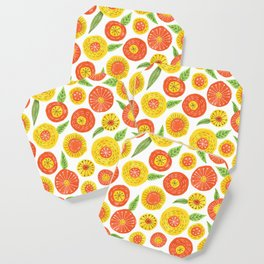 orange and yellow simple floral pattern Coaster