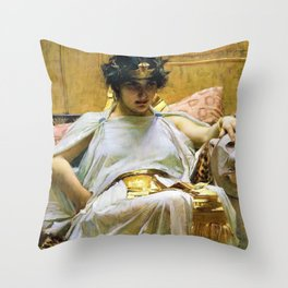 John William Waterhouse - Cleopatra - Digital Remastered Edition Throw Pillow