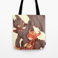 how to train your dragon Tote Bags featuring How to Train your dragon! by SweetOwls