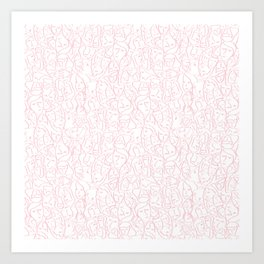 Elios Shirt Faces in Blush Pink Outlines on White CMBYN Art Print