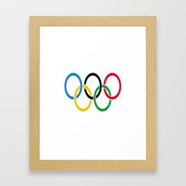 Flag of olympics games-olympic,olympic game,sport,coubertin, circles,medal,fun,international Framed Art Print