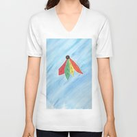 blackhawks V-neck T-shirts featuring Feathers by Smash Art