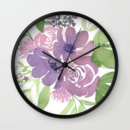 Roses and Anemones Wall Clock