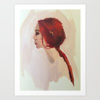 redhead Art Prints featuring Redhead by juliecolette