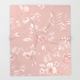 Stephanie Floral - Pink Throw Blanket
