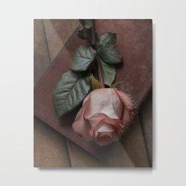 Pink rose and red old book Metal Print