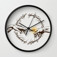 lord of the ring Wall Clocks featuring God of Ring by le.duc