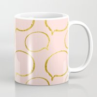 gold foil Mugs featuring Pink Gold Foil 01 by Aloke Design