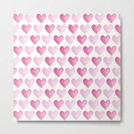 Pink Watercolour Hearts pattern Metal Print