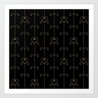 Tan & Black hearts Art Print