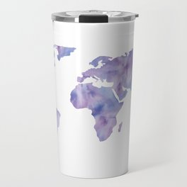 World Map Light Blue Purple Indigo Travel Mug