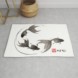 Follow the Leader - Goldfish Sumi-e Painting Rug