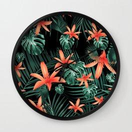 Tropical Flowers & Leaves Jungle Night #1 #tropical #decor #art #society6 Wall Clock