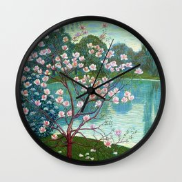 Springtime Pink Magnolias by the Kettle Pond landscape by Wilhelm List Wall Clock