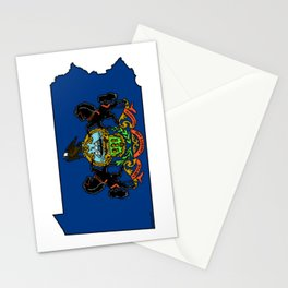 Pennsylvania Map with State Flag Stationery Cards