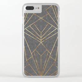 Art Deco in Gold & Grey - Large Scale Clear iPhone Case