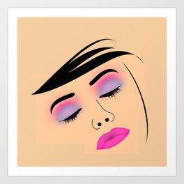 Portrait of beautiful woman with fresh make up Art Print