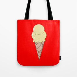 A Vanilla Ice Cream in a Cone with a Red Background Tote Bag