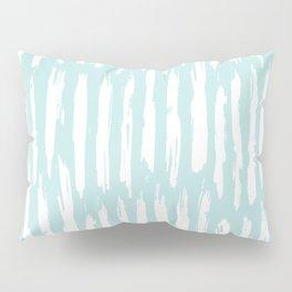 Vertical Dash Stripes White on Succulent Blue Pillow Sham