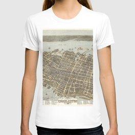 1872 Historical Bird's Eye View City Grid Map of Coastal Charleston, South Carolina  T-shirt